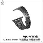 Apple Watch 不鏽鋼三珠超薄錶帶 42mm 44mm 替換錶帶 雙按蝴蝶扣 不鏽鋼錶帶 金屬錶帶