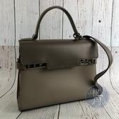 BRAND楓月 DELVAUX 灰色x深灰色 TEMPETE MM 斜背包 側背包 手提包 兩用包
