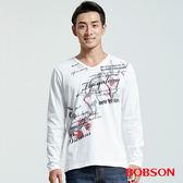BOBSON 男款V領印圖上衣(36014-80)