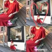 自製韓版新款高腰顯瘦棉麻復古方領中長款紅色寬鬆連身裙女夏 凱斯盾