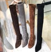 長靴女過膝 秋冬新款尖頭粗跟長筒靴彈力瘦瘦靴高跟過膝靴加絨