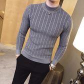男士毛衣地平線男裝 秋冬半高領紋路打底衫潮修身針織毛衣時尚簡約款 9色