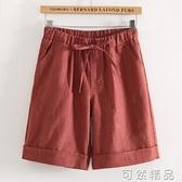 棉麻五分褲女夏休閒寬鬆直筒中褲文藝熱褲鬆緊腰大碼顯瘦5分短褲 可然精品