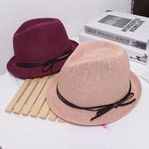 帽子女夏天爵士帽時尚百搭卷邊小禮帽
