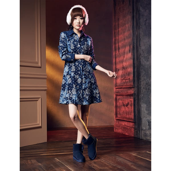 ★零碼出清★Keeley Ann暖心冬季~甜美羊毛愛心造型真皮雪靴(藍色)