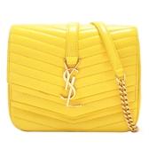 SAINT LAURENT YSL 聖羅蘭 黃色山型紋羊皮金釦雙層蓋練包Sulpice small Crossbody Bag
