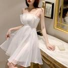 網紗洋裝 高腰顯瘦吊帶連身裙夏季法式仙女中裙子復古氣質網紗小個子大擺裙-Ballet朵朵