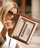 ■專櫃88折■ 全新真品■ Burberry 迷你雙色調帆布拼皮革口袋Pocket 包 自然色/麥芽棕色
