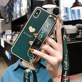 斜背手機殼 蘋果11手機殼斜背背包式iPhone8plus帶掛繩11promax網紅女款7plus愛心腕帶