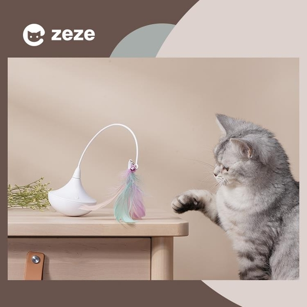 旋轉風鈴貓玩具自嗨逗貓神器逗貓棒包郵羽毛鈴鐺貓貓用品