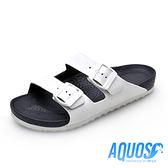 G.P AQUOS雙色雙帶柏肯防水拖鞋 男鞋-白黑