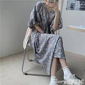 名族風洋裝 連身裙2021年新款女韓版寬鬆顯瘦過膝長裙夏季高腰復古民族風裙子  新品【99免運】