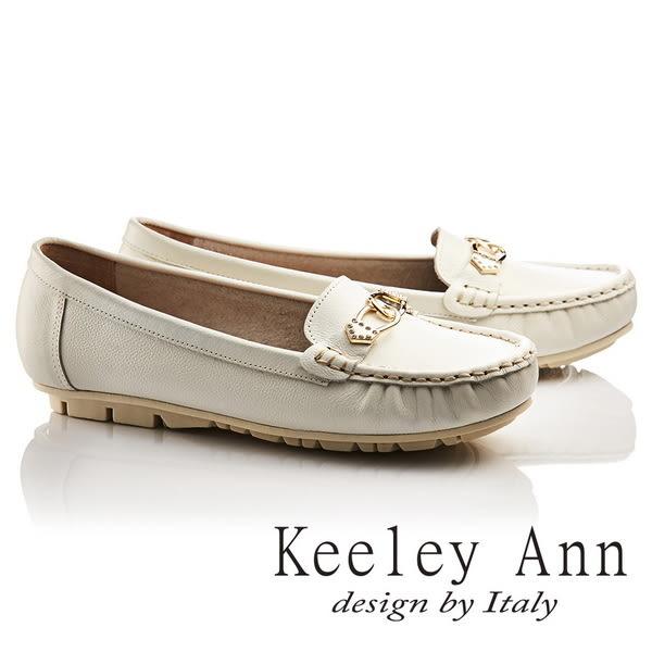 ★2017春夏★Keeley Ann經典美型~金屬鑰匙環扣OL全真皮平底莫卡辛鞋(白色)