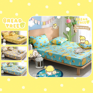 【BREAD TREE麵包樹】精梳棉單人床包+枕套二件組-檸檬派對淺藍
