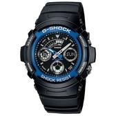 【CASIO】G-SHOCK 實用運動風雙顯指針錶-藍圈(AW-591-2A)