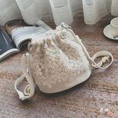 水桶包斜跨單肩小包迷你水桶包清新森系蕾絲包ins休閒百搭帆布包女文藝 (七夕節禮物)