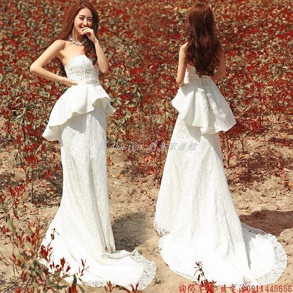 (45 Design) 客製化 預購7天到貨  新娘婚結婚紗禮服新款韓版拖尾蕾絲抹胸綁帶收腰紅色魚尾婚紗
