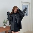 外套襯衫女秋季新款韓版ins原宿風工裝皮襯衣寬鬆休閒長袖上衣外套潮