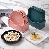 【8個裝】家用塑料小盤子小碟子骨頭碟垃圾盤碟圓形菜碟【輕奢時代】