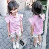 童裝夏裝新款女童短袖襯衫兒童襯衣女