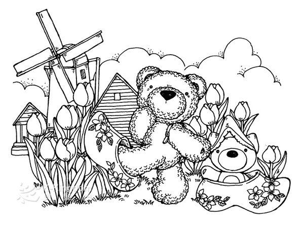 【貝登堡】手作 卡片 楓木印章 木頭印章 木頭章 棉花熊遊荷蘭 KT-4531