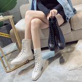 時尚中筒靴女 秋冬新款粗跟百搭系帶中筒馬丁靴英倫風時尚機車靴 DN20186『男神港灣』