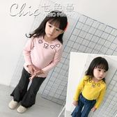 女童木耳邊打底衫春裝寶寶愛心刺繡T恤兒童長袖百搭上衣「Chic七色堇」