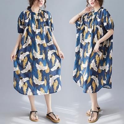 長版棉麻洋裝長裙~8339印花寬松大碼連身裙MC071C衣時尚