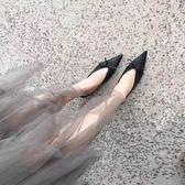 歐美尖頭蝴蝶結穆勒鞋夏新款正韓平底懶人半拖鞋女一字涼拖鞋