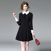 洋裝-長袖娃娃領純色蕾絲拼接女連身裙73of71【巴黎精品】
