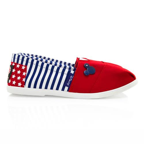 Disney 美式活力 經典款米奇條紋懶人鞋-紅