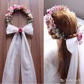 韓式森系新娘頭飾花環頭紗結婚髮飾影樓攝影拍照道具婚紗禮服配飾 晴天時尚館