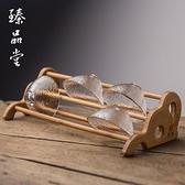 竹制杯架 功夫茶具配件竹子雙層晾茶杯杯托功夫茶具【聚寶屋】