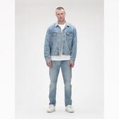 Gap男裝淺色水洗翻領胸袋牛仔衣501341-靛藍色