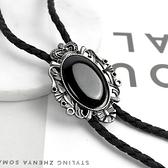 保羅領帶 鏤空皇冠花邊橢圓黑寶石項鍊NB1063