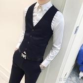 男士正裝大碼新郎伴郎馬甲西服外套韓版修身潮男小西裝青少年背心 藍嵐