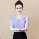 條紋短袖雪紡衫女2021年夏季新款時尚氣質娃娃領百搭小衫洋氣上衣 快速出貨