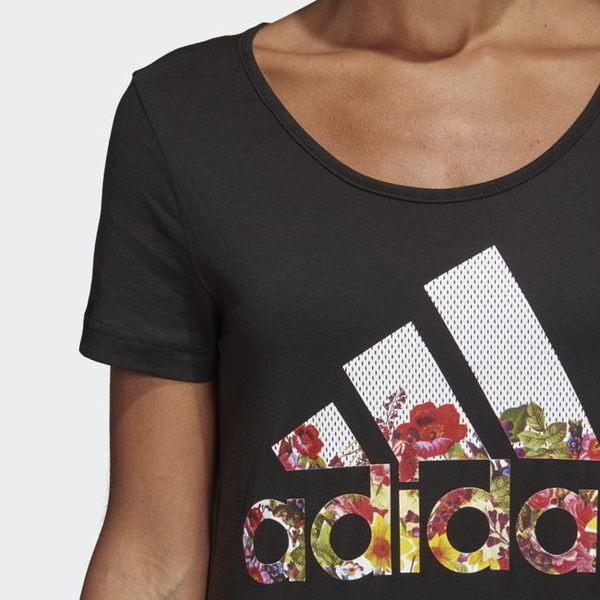 ADIDAS BOS Flower Tee 女裝 短袖 休閒 慢跑 側邊開叉 花卉 黑【運動世界】DX2535