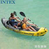夏季新款戶外充氣船二人橡皮劃艇2人獨木舟沖鋒舟气船漂流船气垫汽艇 aj14154『黑色妹妹』