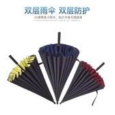 雨傘長柄超大雙層晴雨兩用簡約商務傘加固大號24骨防風戶外雨傘男