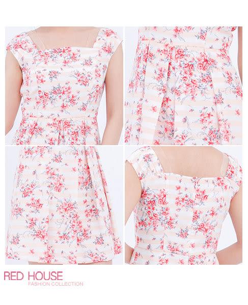 RED HOUSE-蕾赫斯-條紋花朵背心洋裝(粉色)
