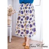 【Tiara Tiara】激安 手感花繪鬆緊腰長裙(米底/灰底)