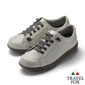 TRAVEL FOX(女) 乖乖的 超軟牛皮免綁帶舒適休閒鞋 - 温柔灰