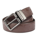 COACH 經典LOGO浮雕壓紋防刮皮革針扣式雙面用寬版皮帶(深咖色)196176-1