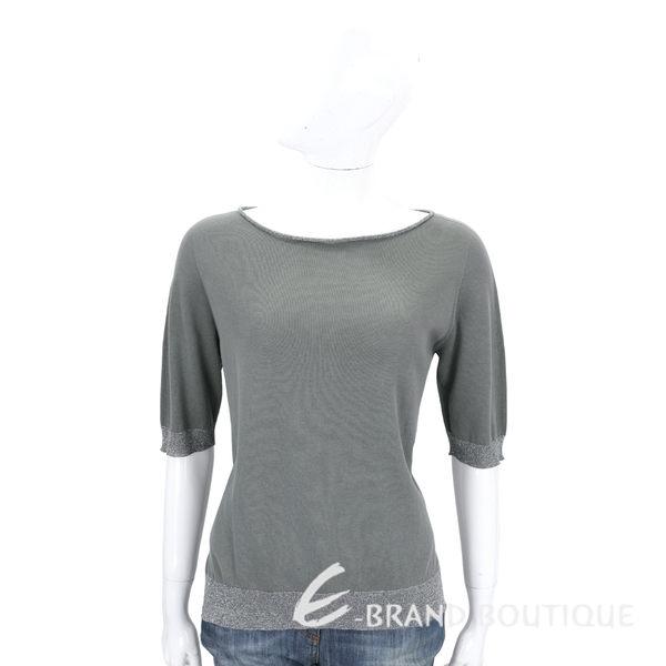 FABIANA FILIPPI 灰綠色銀蔥拼接五分袖上衣 1620195-36