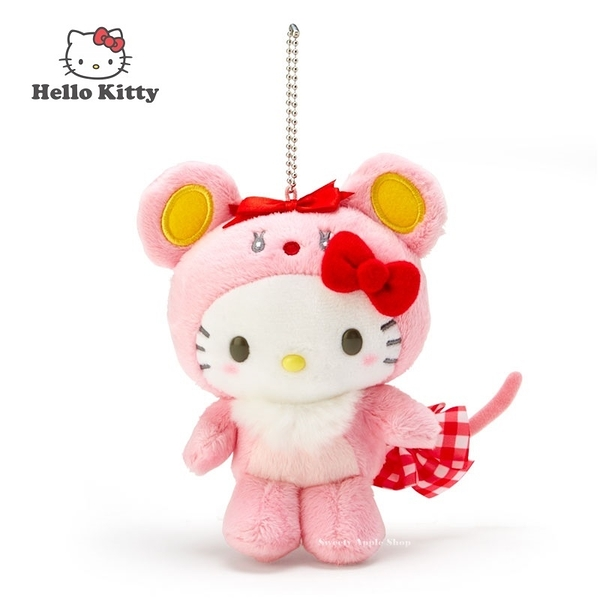 日本限定 三麗鷗 凱蒂貓 HELLO KITTY 干支 生肖鼠年 珠鍊吊飾 玩偶娃娃