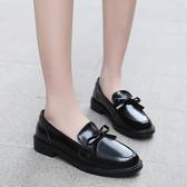 女樂福鞋 韓版女鞋子 小皮鞋復古潮加絨平底學院風英倫風新款一腳蹬女鞋平底鞋《小師妹》sm3554