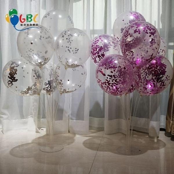 氣球 透明氣球台擺 桌擺氣球桿子氣球支桿 彩色亮片氣球支架