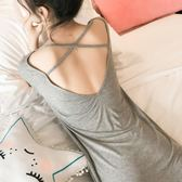 睡裙女 性感露背吊帶 冰絲寬鬆睡衣 夏季薄款短袖棉質 大碼