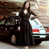 中大尺碼洋裝 韓版蕾絲V領顯瘦連身裙 L-5XL #wm151 ❤卡樂❤
